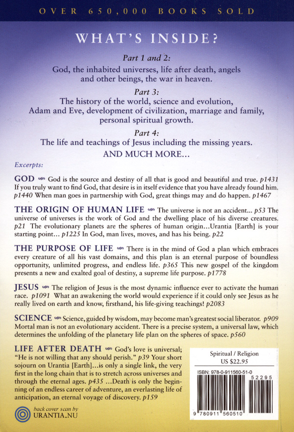 back cover of the current paperback edition of The Urantia Book